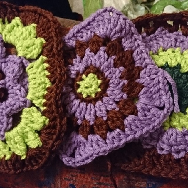 Three granny squares