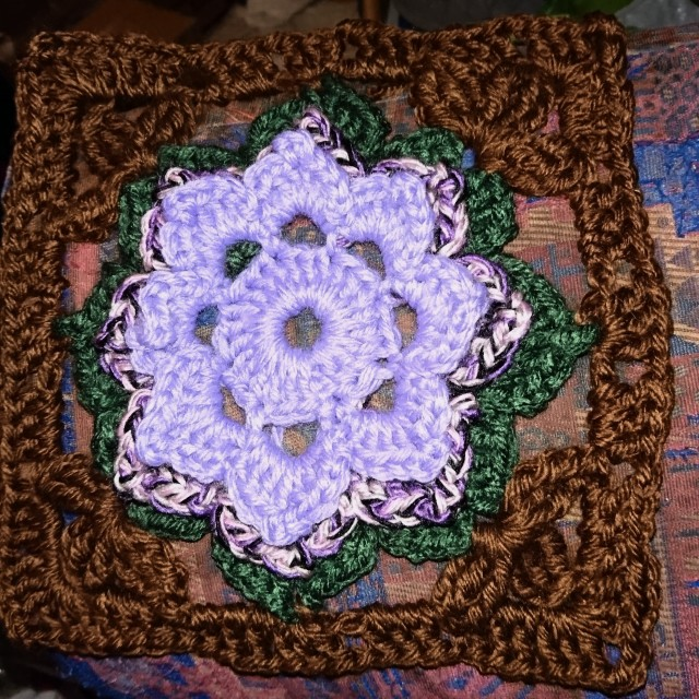 Three-layered flower in a granny square