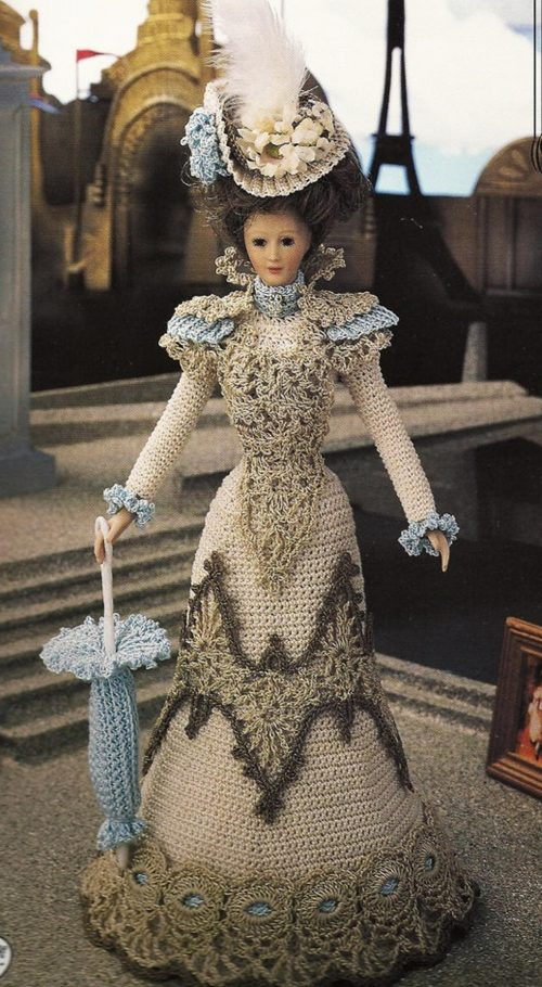 Barbie doll in crocheted gown